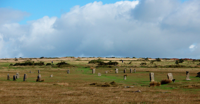 The Hurlers are three stone circles in a line across the scenic landscape of Bodmin Moor in Cornwall. They date from the Bronze Age, about 1500 BC and are named for the medieval legend that they were men turned to stone for 'hurling' (a Celtic game) on Sunday.<br /> As with virtually all prehistoric standing stones, their exact purpose is not known.