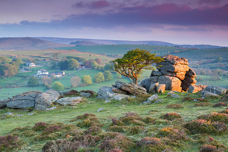 Sunrise over Saddle Tor of Dartmoor, Devon.