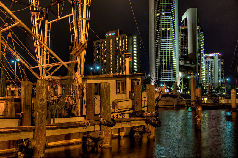 Downtown Corpus Christi separates the new and old in this view from the docks.