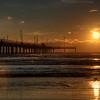 The sun setting over the Bob Hall pier in Corpus Christi, Texas