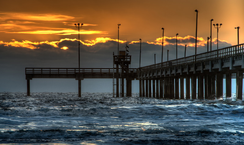 Bob Hall pier at sunrise, on a cold fall day in Corpus Christi, Texas
