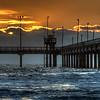 Bob Hall pier at sunrise, on a cold fall day in Corpus Christi, Texas