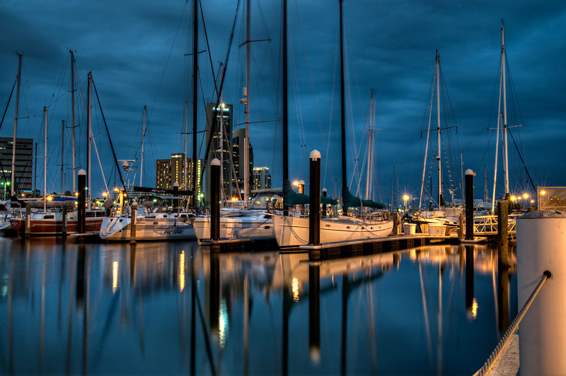 A cool, cloudy night is the perfect backdrop for the Yachting Club in Corpus Christi, Texas