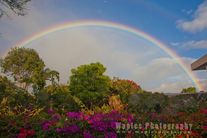 Stunning Rainbow with Moon, Hotel Bougainvillea, Santo Domingo de Heredia, Costa Rica