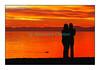 Coucher de soleil romantique sur le lac Léman