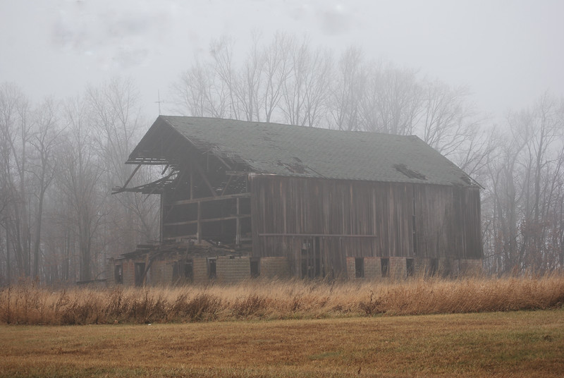 Abandoned barn built in 1850.  Located near Spencerville, Ohio
