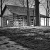 Log Cabin in B&W