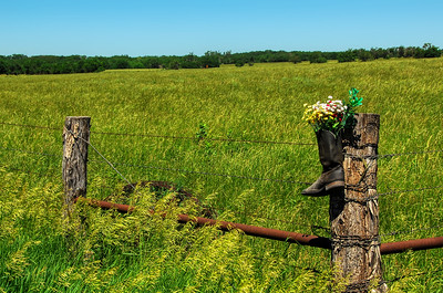 Country Scene - Boot on Fence - Photo Taken: June 6, 2008