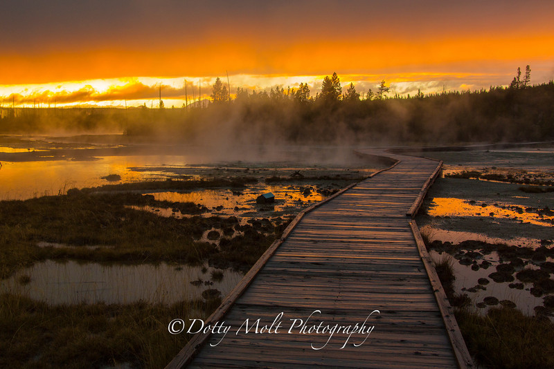 Brilliant Sunset over the Porcelain Geyser Basin in Yellowstone National Park, the day before the shutdown.