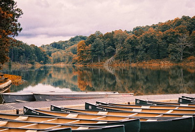 Lake Hope which is located in the Hocking Hills region of south central Ohio This image was captured on film using a Nikon N65 SLR then scanned and digitized .