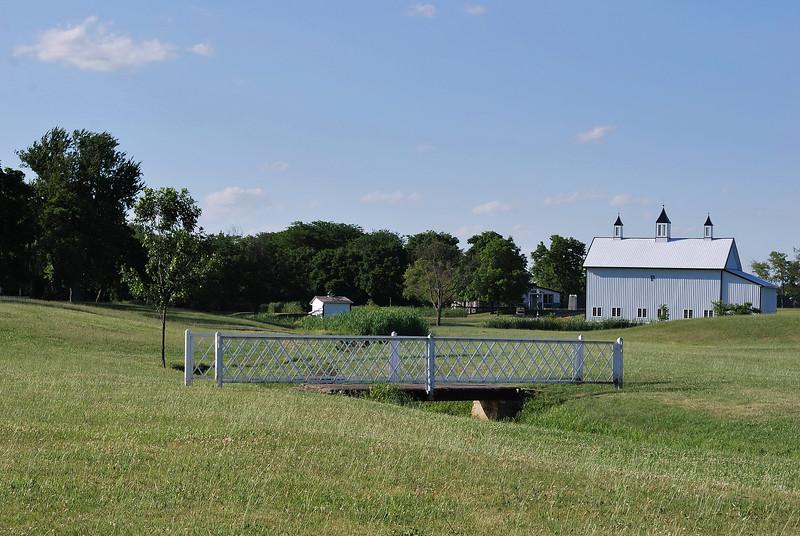 Modern white barn on a family farm near Ottawa Ohio
