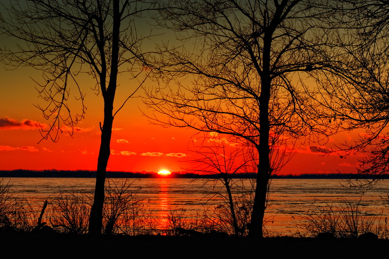 Sunset over Grand Lake-St. Mary's