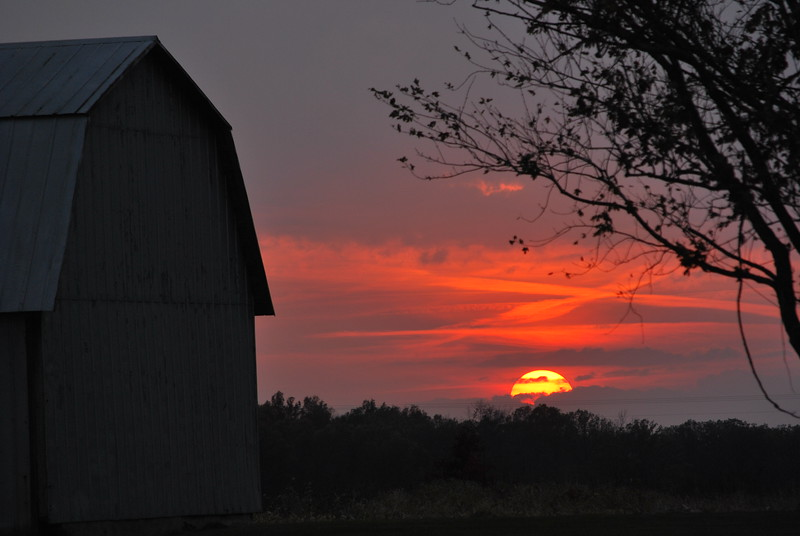The skies were ablaze during this country sunset in northwestern Ohio