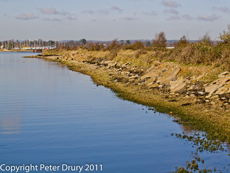 08 February 2011. The railway embankment, North Hayling Island. Copyright Peter Drury 2011<br /> This embankment leads to the dismantled railway bridge tha connected Hayling Island with the mainland at Langstone.