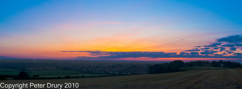 17 Jul 2010 - re-cropped sunrise. Copyright Peter Drury 2010<br /> A composite of 3 portrait images, stitched together to make a panorama.