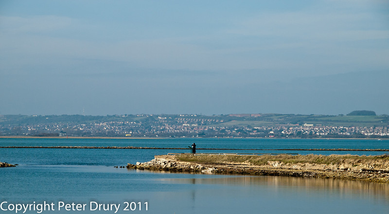 17 February 2011. Portsdown Hill in the background with the Oysterbed lagoon in the foreground. Taken from the shelter  at the Oysterbed lagoon. Copyright Peter Drury 2011