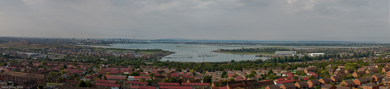 Portsmouth Harbour from Portsdown Hill cliff top. Copyright 2009 Peter Drury