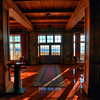 Morning sun thru Entrance doors at Crater Lake Lodge