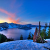 Crater Lake at sunset