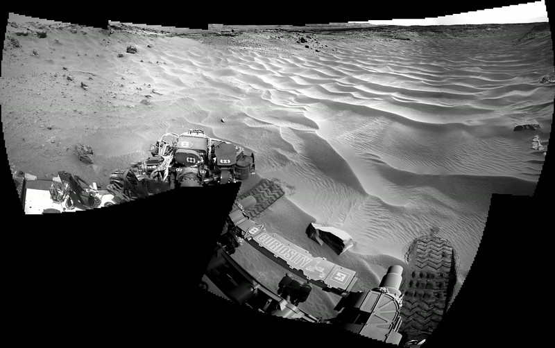 Sol 705 Navcam Mosaic of Toe Tip into Hidden Valley (Data NASA/JPL-Caltech)