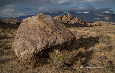 Boulder - Alabama Hills, Inyo Mtns in background. Clearing storm - 2013
