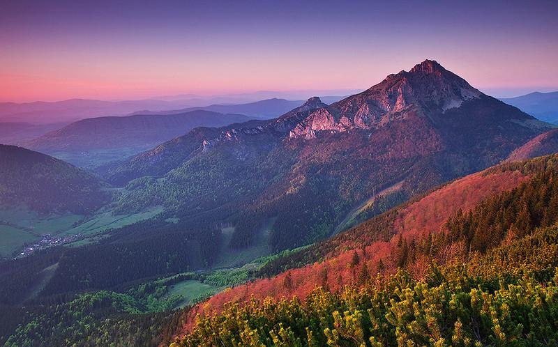 Sunset at the majestic peak of Vel'ký Rozsutec in Mala Fatra National Park, Slovakia.