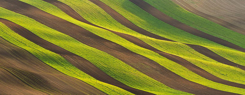 A silky scarf - The stripes of fields glowing in the evening sun after harvest.