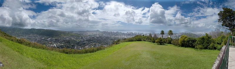 View from Tantalus lookout looking towards Diamond Head - overlooking Honolulu, Oahu, Hawaii