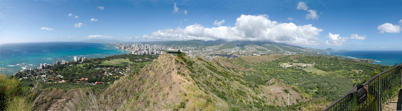 View from top of Diamond Head Crater lookout, Honolulu, Oahu, Hawaii