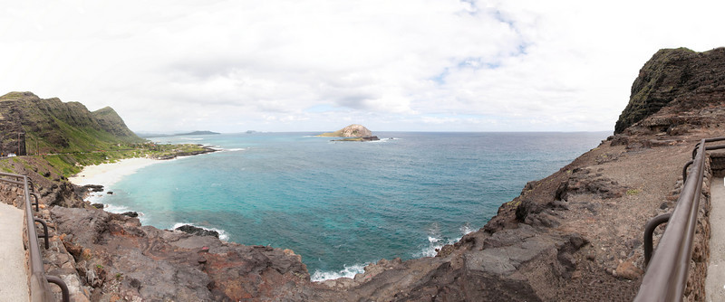 View from Makapu'u Point Lighthouse overlook - towards Makapu'u Beach, Rabbit Island
