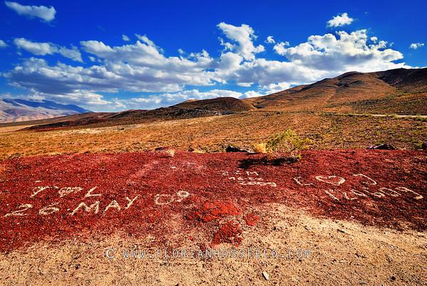 Love words in californian desert