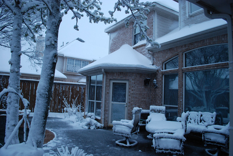"""We awoke to another 8"""" snow this morning (3-21-10).  This was taken around 6:30, just before the heaviest snow came."""
