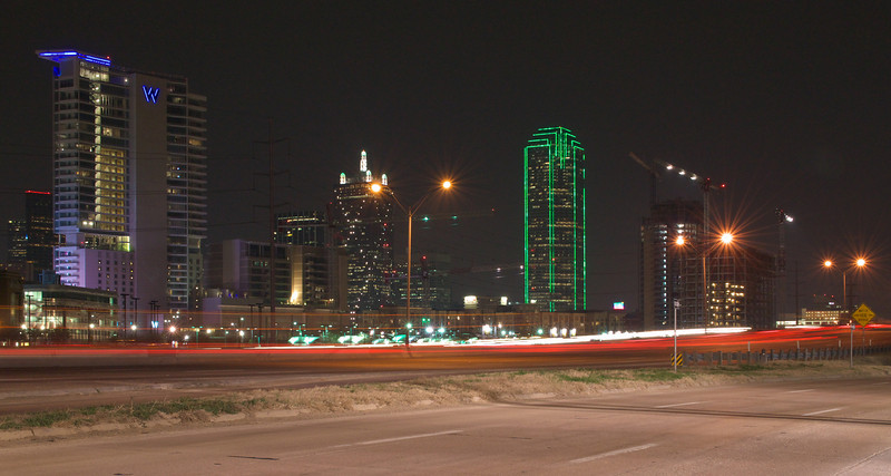 Dallas at night from the I-35