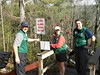 Volunteers are what make this event possible.  April 1, Dam release Tallulah Gorge.  Putting up the sign as the south rim stairs.