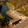 """Fontana Dam, at 480 feet tall, is the tallest dam in the Eastern United States.  This is a view from the top of the dam looking down at the power house and the Little Tennessee River.  <a href=""""http://en.wikipedia.org/wiki/Fontana_Dam"""">http://en.wikipedia.org/wiki/Fontana_Dam</a>"""