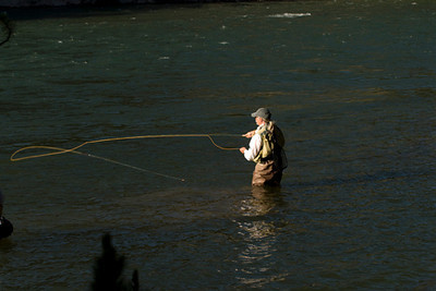 Fly Fishin is big sport in Yellowstone park.  This guy was ready for the cover of Outdoorsman magazine