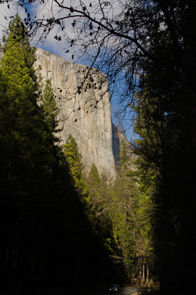 El Capitan from the outbound side of the valley.  There was no water for Horsetail Falls this winter so we looked for other opportunities.