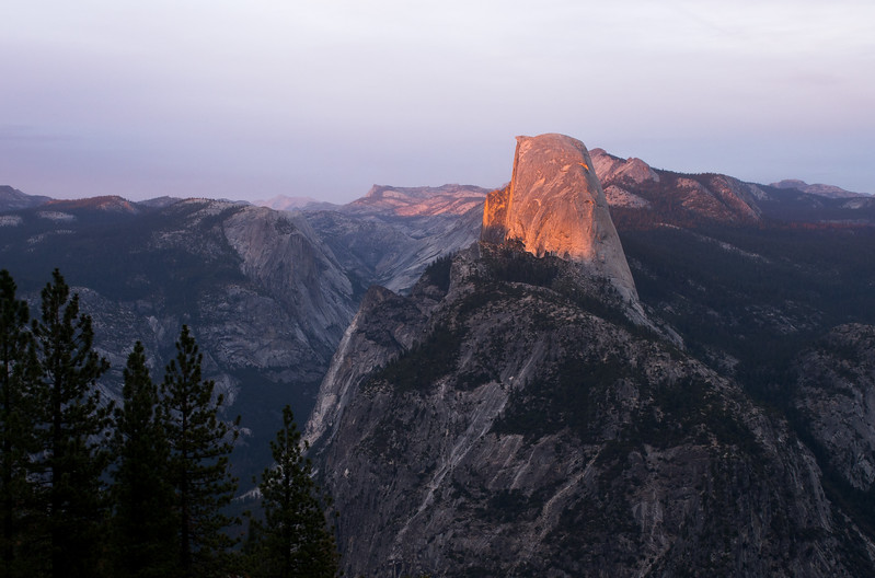 About a yar ago I was looking at this. The last rays of the setting sun casting a pink glow on Half Dome in Yosemite National Park. Overwhelming beauty. What a year it has been — from this high of highs to the valley of the shadow of death and then back to another high — survival. I need to adjust the amplitude.