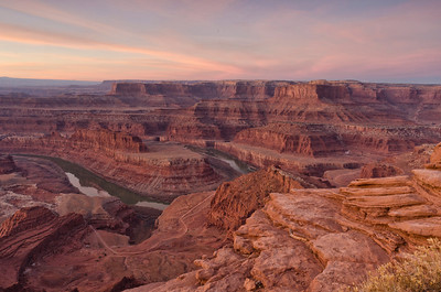 Dead Horse Point. The red light of dawn on the red rock filled the view with light and color. (Merit, Travel Print, N4C March 2012)