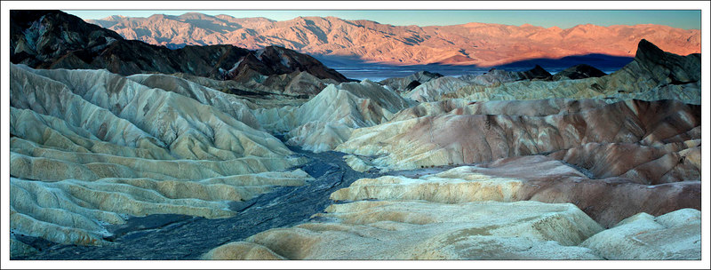 This is a four frame panarama facing west from Zabriskie Point as the sun was rising.