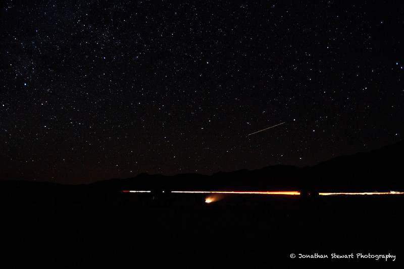 Stars, car, airplane and campfire.