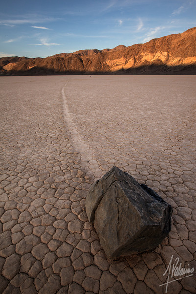 Sun setting at the racetrack playa, Death Valley National Park