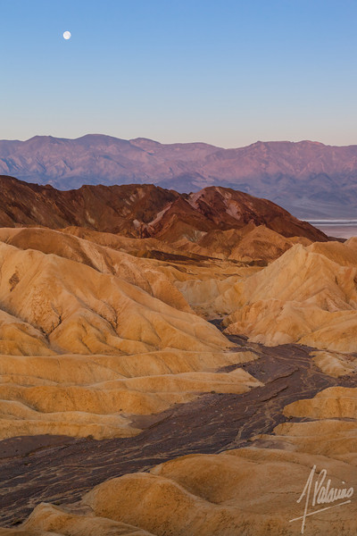 Moonset at Zabriskie Point, Death Valley National Park