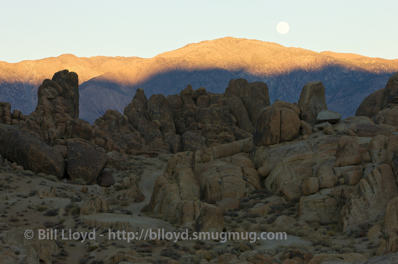 Moonrise at sunset in the Alabama Hills, Lone Pine, CA.