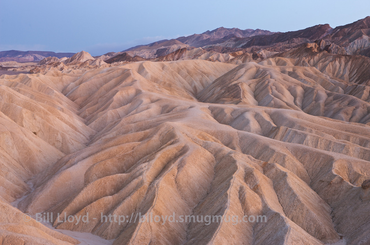 View from Zabriskie Point after sunset, Death Valley National Park.