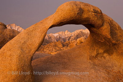 Mobius Arch and Mt. Whitney in the pre-dawn light.