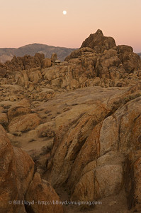 Moon and Alabama Hills at sunset.