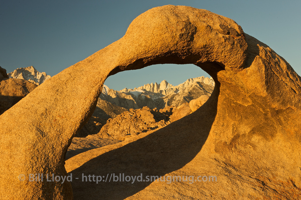 Mobius Arch with shadows and Mt. Whitney shortly after sunrise.