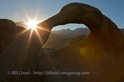 Mobius Arch and Mt. Whitney at sunset.