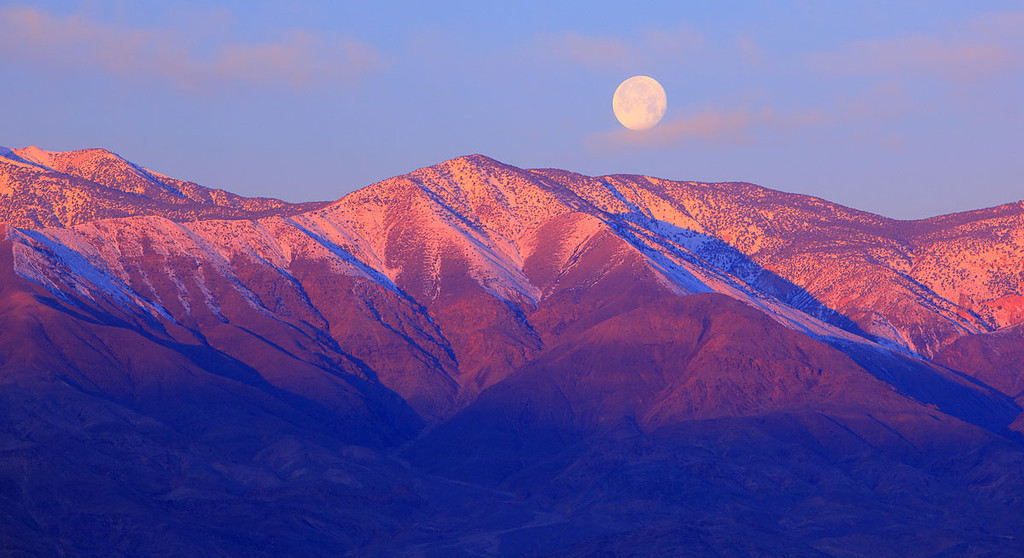 Death Valley Salt Pan Peak Moonset Panamint Range